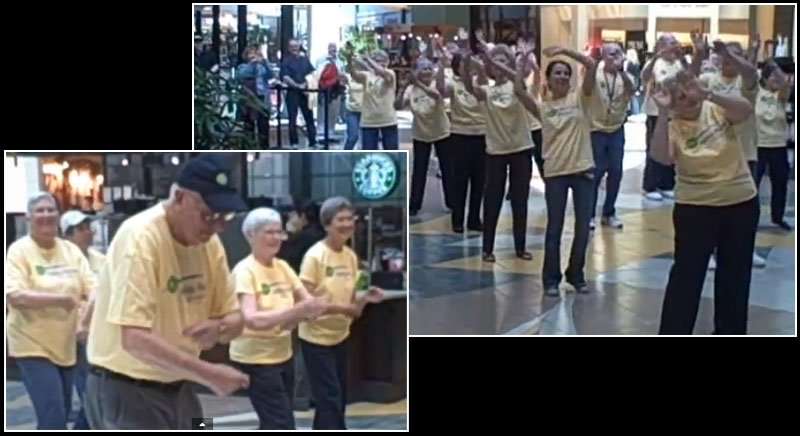 Group of 25 senior citizens from local retirement community surprised crowds with choreographed senior moves!