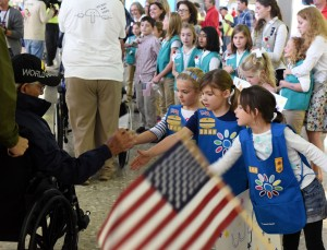 Girl Scouts Greeting Veterans