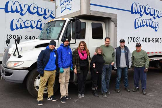 volunteers, movers and trucks
